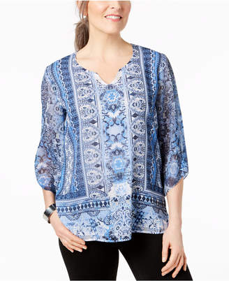 JM Collection Petite Printed Studded Top