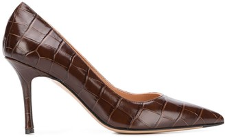 The Seller crocodile-effect pointed pumps