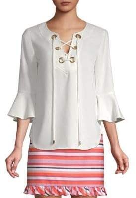 Trina Turk Straight-Fit Lace-Up Top