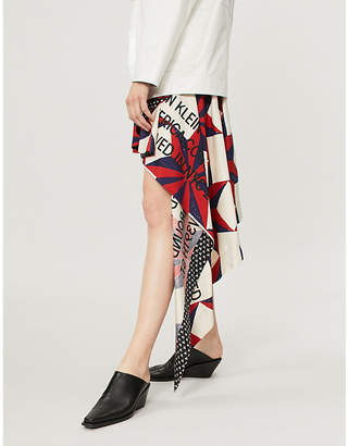 Calvin Klein Assymetric-hem patterned silk-twill skirt