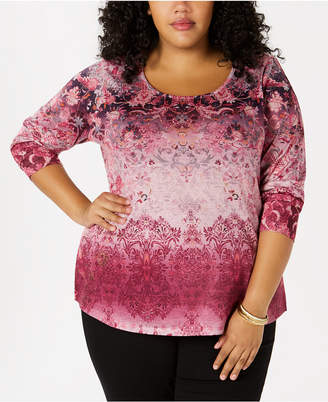 Style&Co. Style & Co Plus Size Printed Embellished Top, Created for Macy's