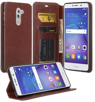 Coverlab Huawei Honor 6X Case, Mate 9 Lite, GR5 2017 Slim Magnetic Flip Fold[Kickstand] Pu Leather Wallet Case with ID & Credit Card Slots for Mate 9 Lite - Brown