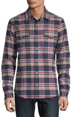 Plaid Flannel Cotton Button-Down Shirt