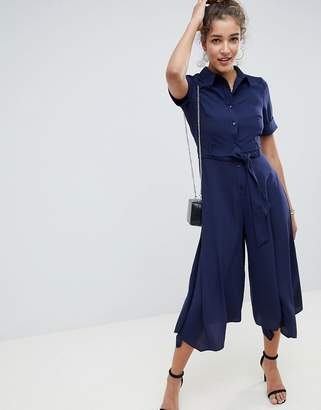 Asos Design DESIGN shirt jumpsuit with hanky hem and belt detail