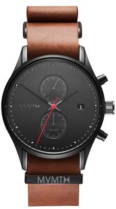 MVMT Voyager Chronograph Leather Strap Watch, 42mm