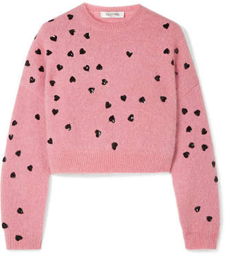 Valentino Cropped Sequin-embellished Mohair-blend Sweater - Baby pink
