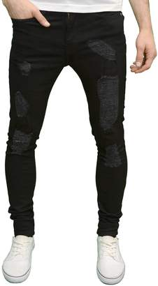 19ced0776db4 at Amazon Canada · Enzo Mens Designer Stretch Super Skinny Fit Distressed  Ripped Jeans
