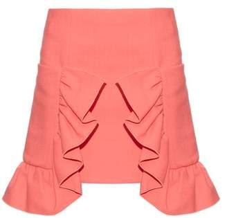 Marni - Ruffled Cotton Blend Crepe Skirt - Womens - Pink