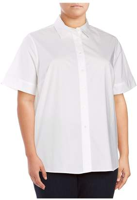 Vince Camuto Women's Hi-Lo Stretch-Cotton Blouse - Ultra White, Size 3x (22-24)
