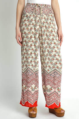 Patrons Of Peace Smocked Floral Border Print Wide Leg Pant