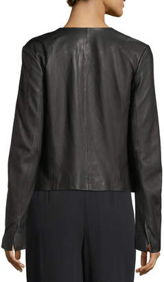 Vince Zip-Front Lamb Leather Jacket