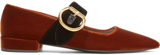 Prada - Two-tone Velvet Point-toe Flats - Brown $750 thestylecure.com