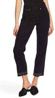Vince Camuto Stud Detail High Waist Crop Straight Leg Jeans