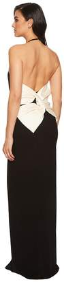 Halston Color Blocked Sleeveless Halter Gown w/ Back Bow Women's Dress