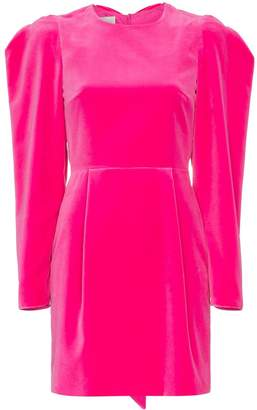 Valentino puff sleeve crew neck velvet dress