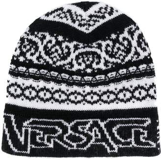 Versace knitted beanie style hat