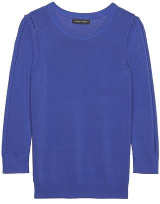 Banana Republic Cotton Blend Pointelle Sweater