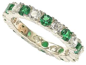 LeVian Suzy Jewelry Sterling Silver CZ Emerald Green Alternating Eternity Band Ring