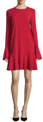 Theory Marah Long-Sleeve Drop-Peplum Dress, Dark Vermillion $145 thestylecure.com