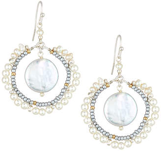 Nakamol Pearl Frame & Hoop Drop Earrings