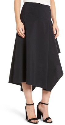 Women's Trouve Asymmetrical Midi Skirt $89 thestylecure.com