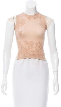 Valentino Knit Lace-Accented T-Shirt w/ Tags