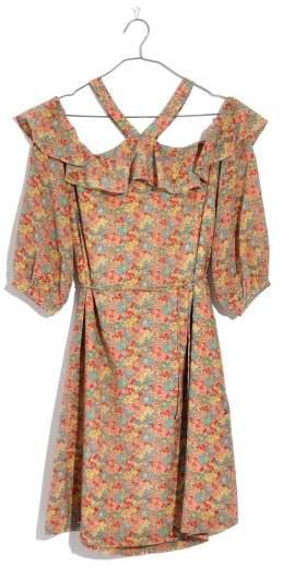 Madewell Forsythia Cold Shoulder Silk Dress