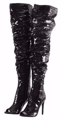 4ba59fb3d429 CAMSSOO Women s Fashion Peep Toe Sparkle Sequins Thigh High Over Knee  Stiletto Heel Christmas Party Dance
