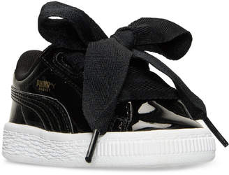 Puma Toddler Girls' Basket Heart Patent Casual Sneakers from Finish Line $54.99 thestylecure.com