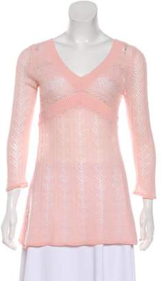 Magaschoni Long Sleeve V-Neck Sweater