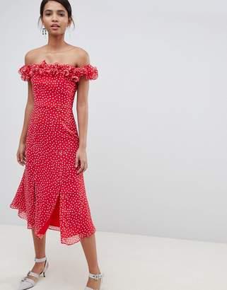 Keepsake ruffle bardot midi dress in polkadot