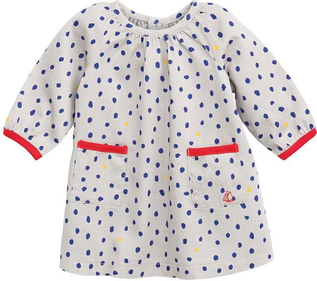 Petit Bateau Baby Girl Two-Fabric Cotton Dress