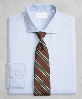 Brooks Brothers Golden Fleece Milano Slim-Fit Dress Shirt, English Collar Blue Herringbone
