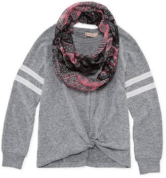INSPIRED HEARTS Inspired Hearts Long Sleeve Varsity Knit Top with Scarf - Girls' 4-16