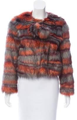 Ramy Brook Stripe Faux Fur Jacket