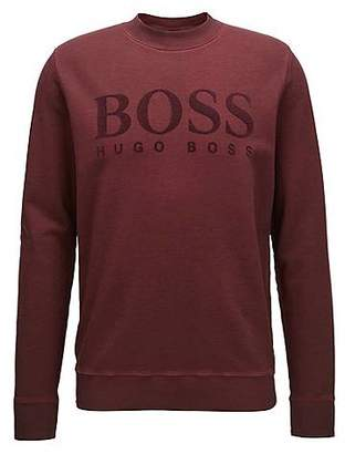 HUGO BOSS Logo sweater in garment-dyed cotton