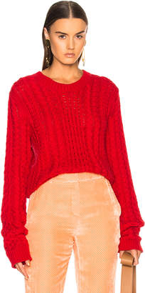 Sies Marjan Britta Cable Knit Sweater in Lipstick | FWRD
