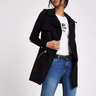 River Island Womens Black faux suede longline trench jacket
