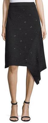 NIC+ZOE Grommet-Embellished Asymmetric Skirt, Black Onyx $158 thestylecure.com