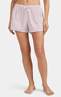 Sleepy Jones Women's Paloma Heart-Print Cotton Pajama Shorts - White