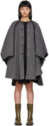 See by Chloe Black and White Hooded Poncho Coat