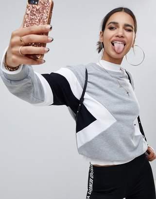 NA-KD color block sweatshirt in gray