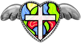 Glass Heart GiftJewelryShop Ancient Style Silver Plate Religious Stained With Simple Angel Wings Pins Brooch