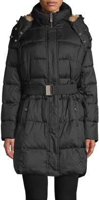 Calvin Klein Faux Fur-Lined Hood Belted Jacket