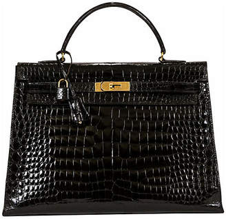 One Kings Lane Vintage HermAs Kelly 35cm Black Crocodile & Gold - Vintage Lux