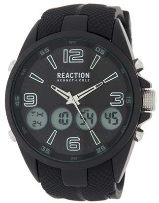 Kenneth Cole Reaction Men's Analog/Digital Silicone Strap Sport Watch, 50mm