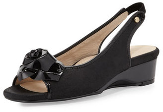 Taryn Rose Karlos Flower Demi-Wedge Sandal, Black $255 thestylecure.com