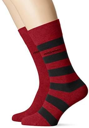 32a662520 BOSS Men's 2p Blockstripe Col C Calf Socks, Red (Dark 608), (