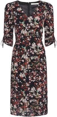Oui Floral ruched sleeve v neck dress