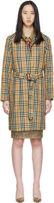Burberry Beige Vintage Check Belted Car Coat